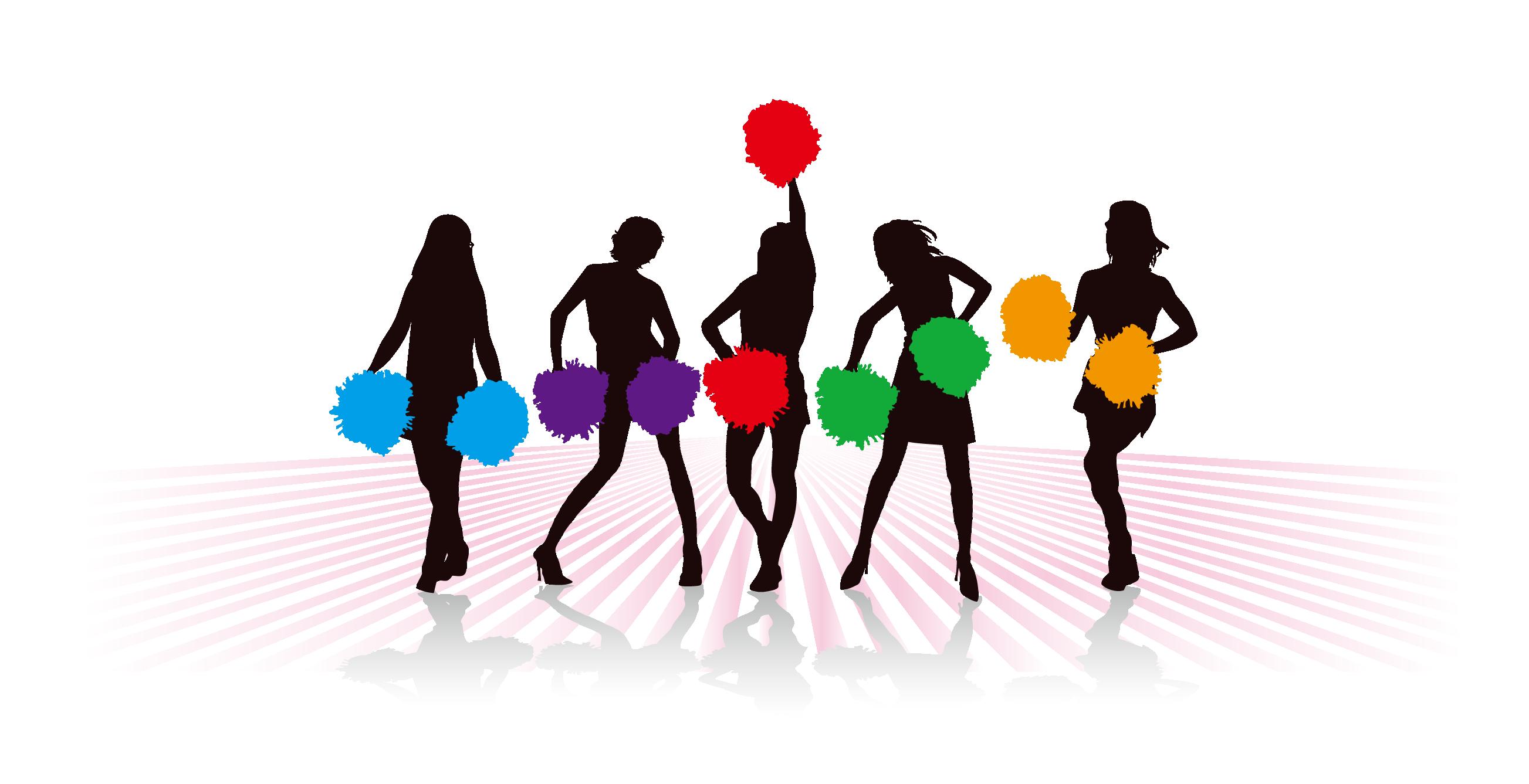 2606x1337 Cheerleading Cartoon Pom Pom Clip Art