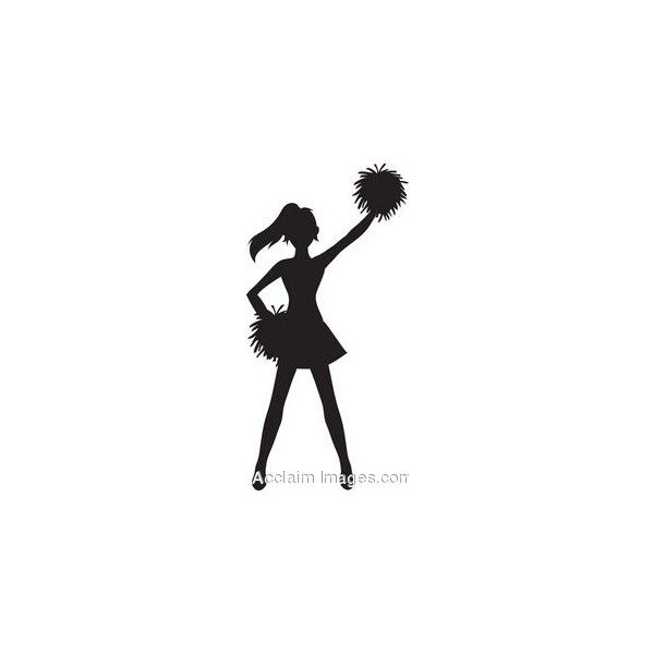 600x600 Clip Art Of A Cheerleader Silhouette With Pom Poms Found