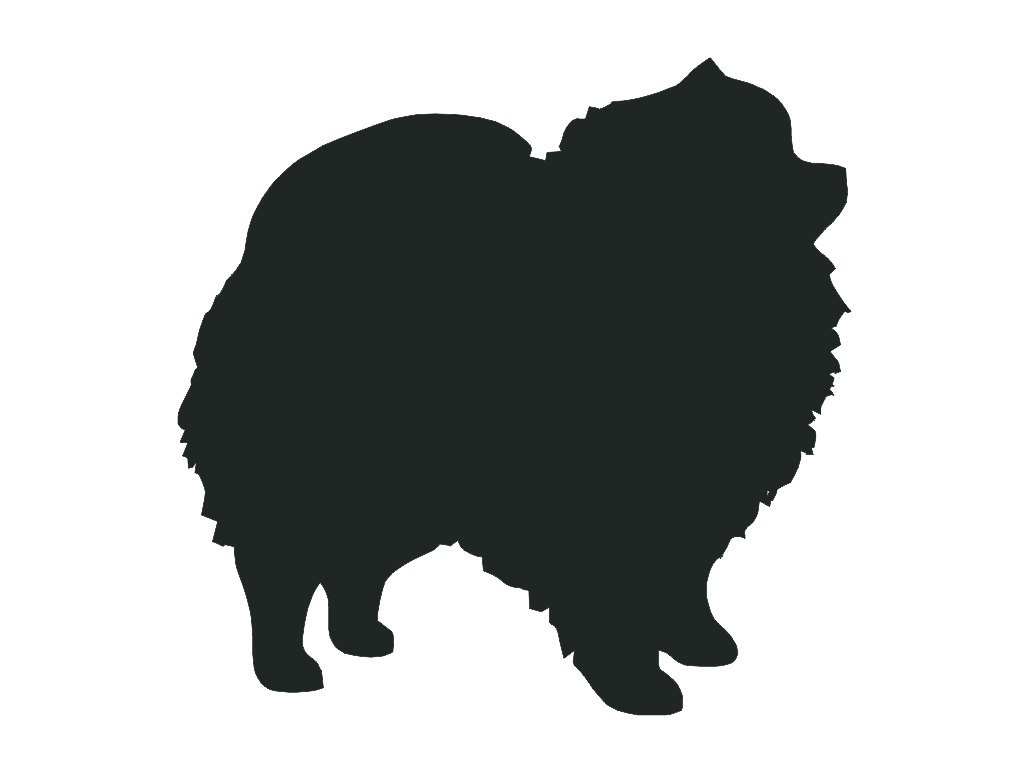 1024x768 Pomeranian Dog Breed Silhouette Custom Die Cut Vinyl Decal