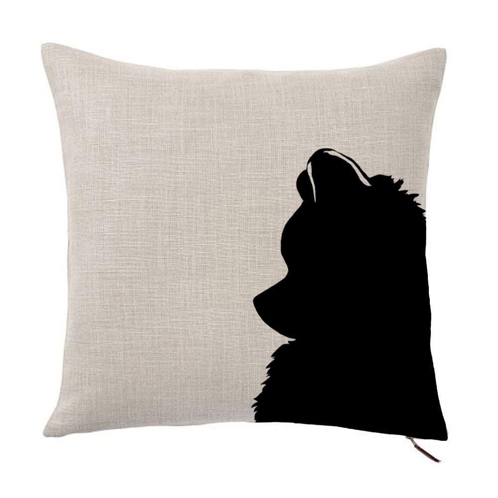 1001x1001 Pomeranian Silhouette Portrait Design Linen Throw Pillow Cover