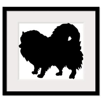 400x400 Pomeranian Silhouette Wall Art Framed Print Custom Order