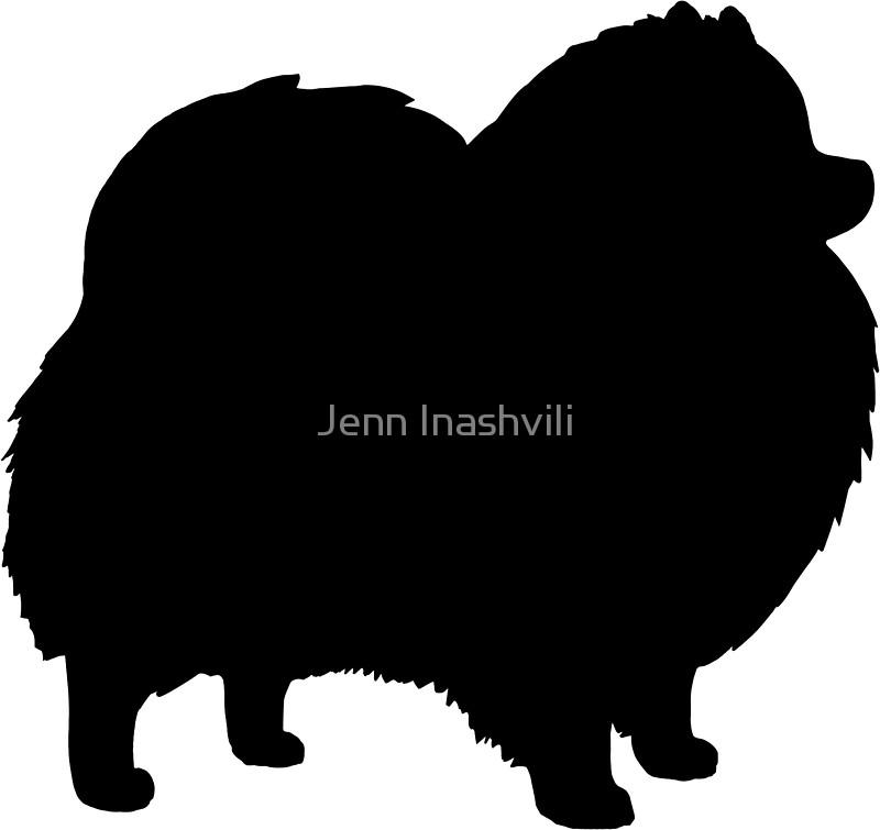 800x755 Black Pomeranian Dog Silhouette(S) Stickers By Jenn Inashvili
