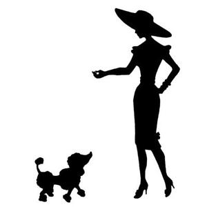300x300 Lady With Poodle Silhouette Unmounted Rubber Stamp, French