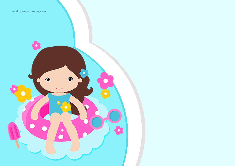 2480x1748 Convite Para Festa Infantil Pool Party Menina Party Printables
