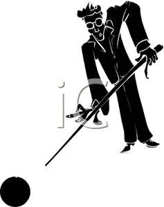 237x300 Silhouette Of A Pool Player Aiming At The Cue Ball