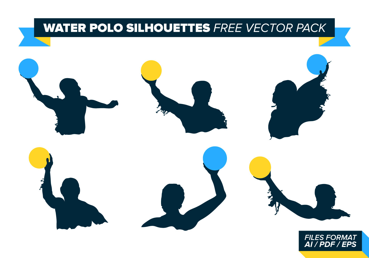 1400x980 Water Polo Silhouettes Vector Pack