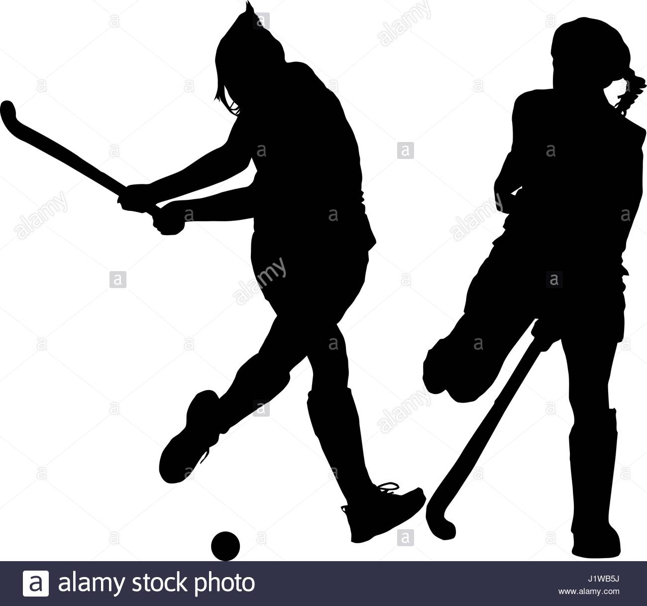 1300x1216 Black On White Silhouette Of Girls Ladies Hockey Players Hitting