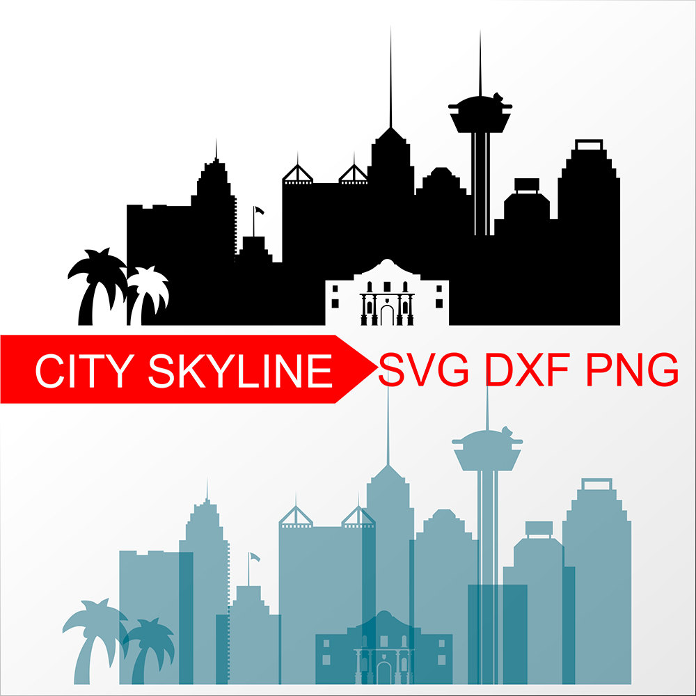 1000x1000 City Of San Antonio Svg San Antonio Vector Skyline San