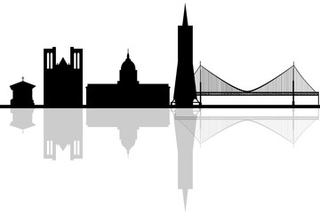 360x240 Portland, Oregon Skyline. Detailed Vector Silhouette