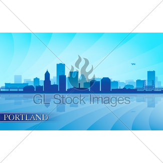 325x325 Portland Oregon Skyline City Silhouette Gl Stock Images