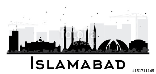 500x238 Islamabad City Skyline Black And White Silhouette. Stock Image
