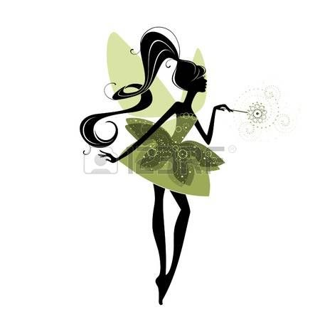 450x450 Fairy Silhouette Wings Portrait Of A Beautiful Fairy Illustration