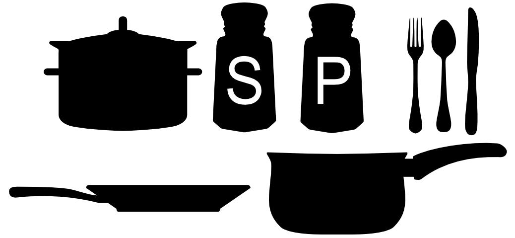 1038x479 Free Svg File Cooking Utensils Pots Pans Silverware Salt Pepper