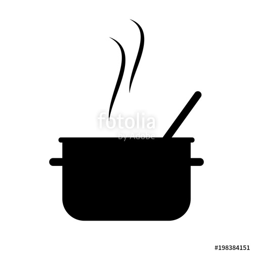 500x500 Simple, Flat, Hot, Black Cooking Pot Silhouette. Isolated On White