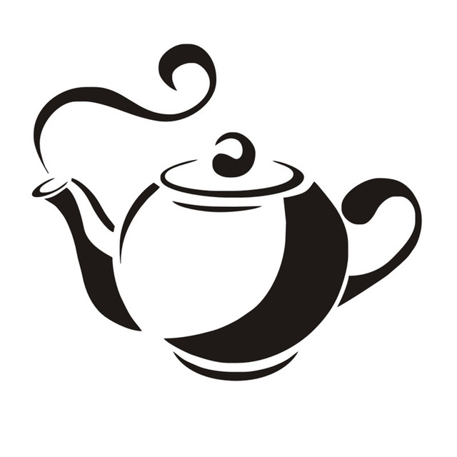 640x640 Steaming Tea Pot Vinyl Silhouette Restaurant Kitchen Removable