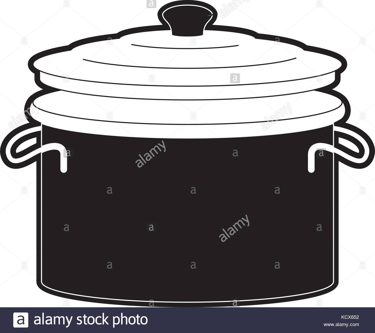 1300x1153 Cooking Pot With Lid Black Silhouette Stock Vector Art
