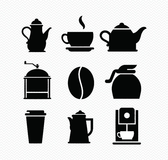 570x544 Coffee Clipart Silhouette Png