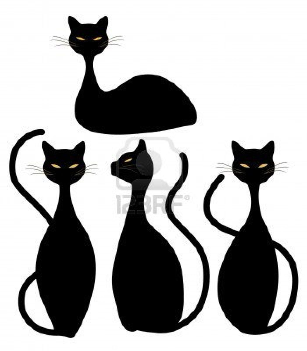 1050x1200 Four Slinky Black Cats Stock Photo Inked Black