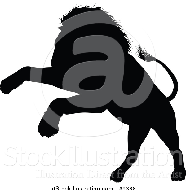 600x620 Vector Illustration Of A Black Silhouetted Male Lion Pouncing By
