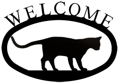 408x288 Wrought Iron Pouncing Cat Silhouette Small Metal Welcome Sign