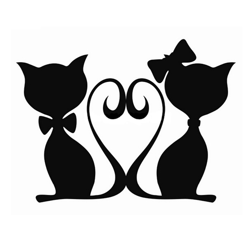 800x800 Length65cm 2x Pouncing Cat Car Sticker For Cars Side, Truck