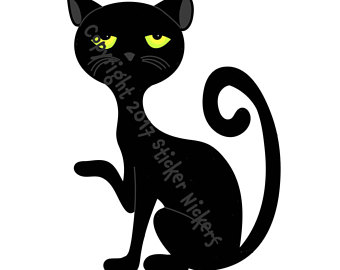 340x270 Black Cat Clip Art Etsy