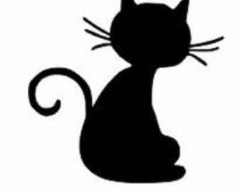 340x270 Black Cat Wall Decal Etsy