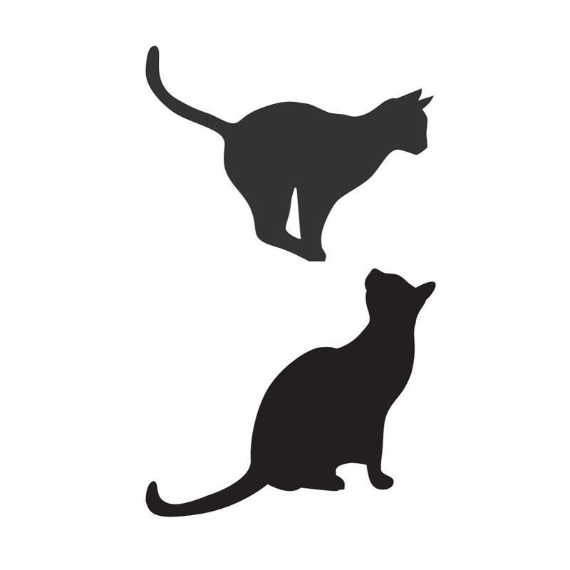 800x800 Dctop Cats Sitting And Pouncing Silhouette Wall Stickers Animal