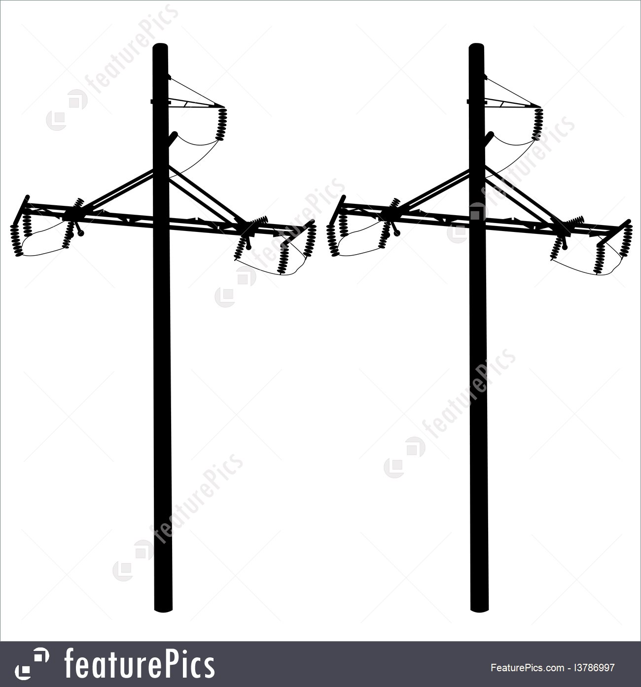1300x1392 Power And Energy Silhouette Of High Voltage Power Lines Vector