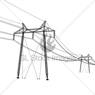 325x325 Silhouette Of High Voltage Power Lines. Vector Illustration Gl