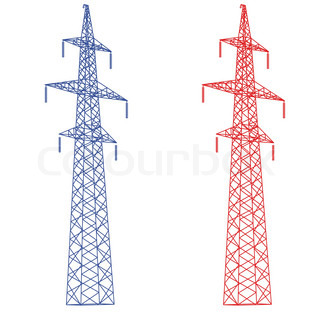 320x320 Silhouette Of High Voltage Power Lines Stock Vector Colourbox