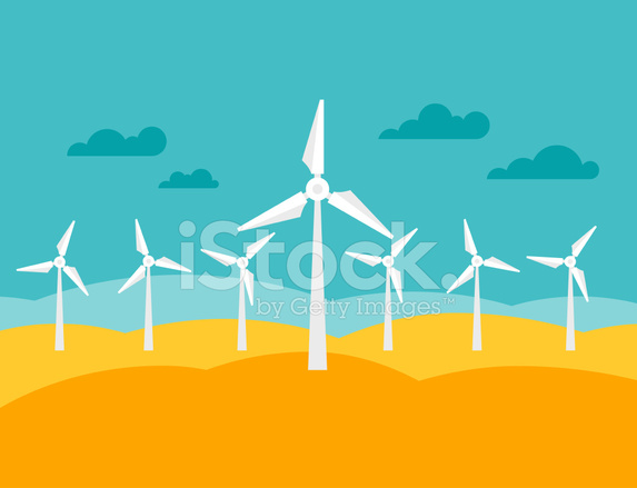 573x439 Illustration Of Wind Energy Power Plant In Flat Stock Vector