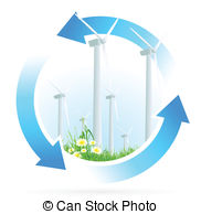 182x194 Wind Power Plant Icon With Leaves And Ladybird Vector Illustration