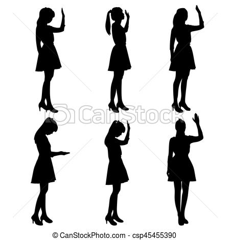 450x470 Silhouette of woman pray with white background eps vectors