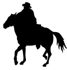 289x300 Cowboy Riding Away. Craft Silhouettes