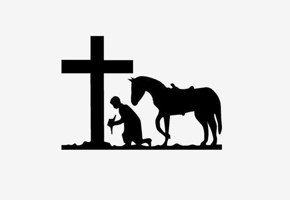 570x394 Kneeling Cowboy Decal Memorial Sticker Praying Cross