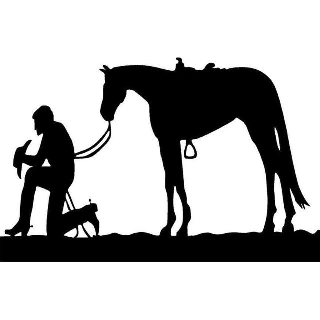 640x640 15.6cm10cm Praying Cowboy And Horse Saddle Rope Pony Mustang