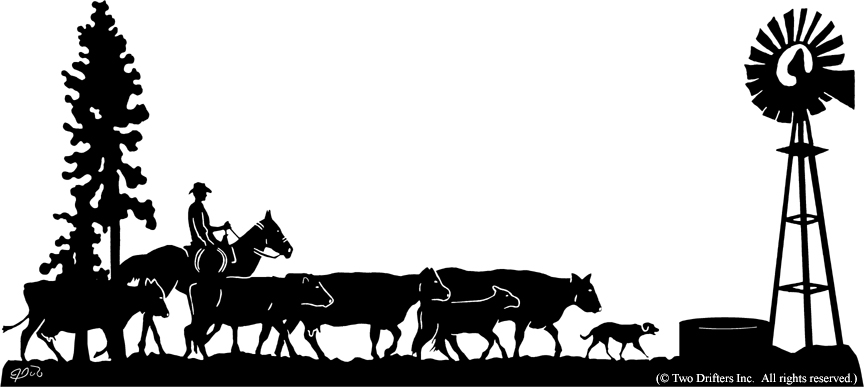 864x387 Western Ranch Silhouette Clipart