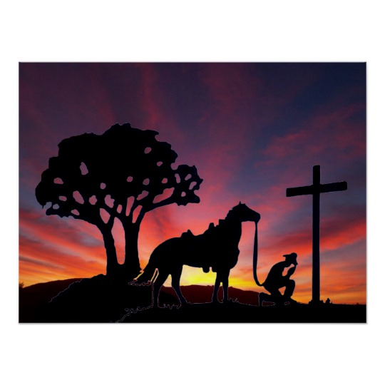 540x540 Cowboy Praying At The Cross With Horse