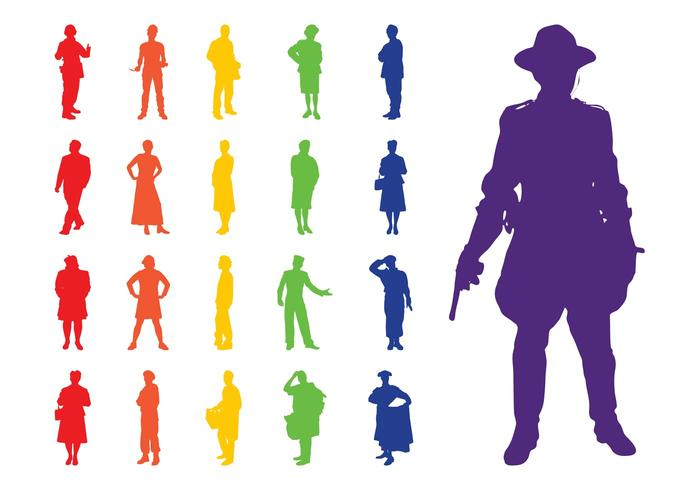 700x490 Professions Silhouettes Set