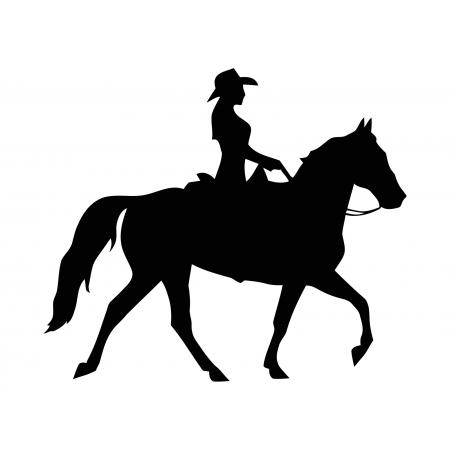 450x450 Cowgirl On Horse Vinyl Decal For Car, Window Bumper Tattoo Sticker