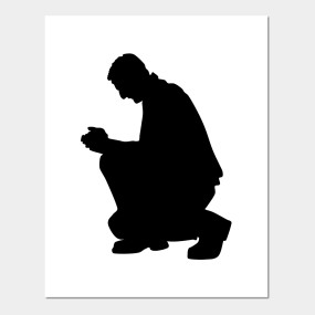 285x285 Limited Edition. Exclusive Kneeling Praying Man Silhouette