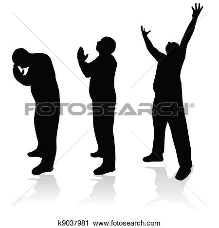 450x470 Praying Men Silhouette Clipart