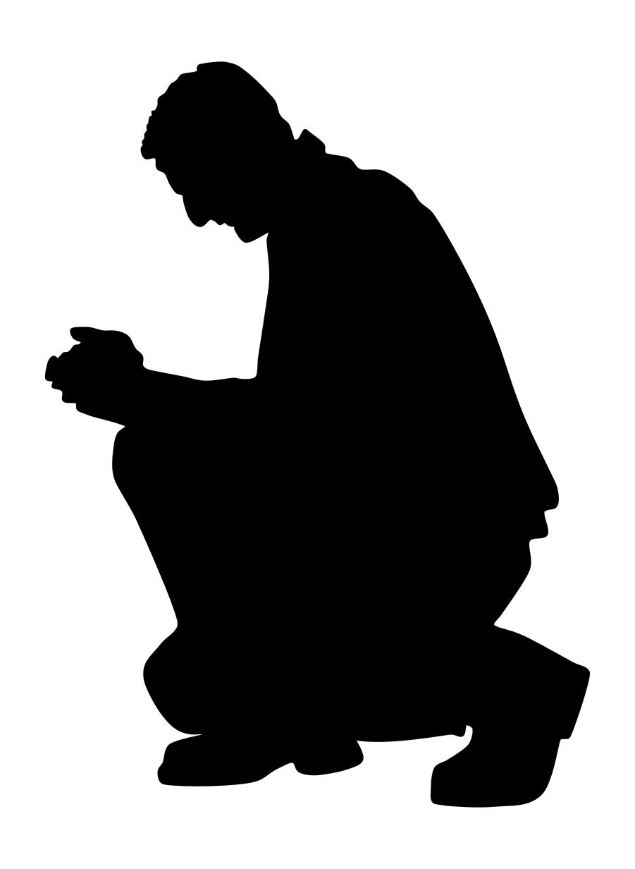 901x1232 Kneeling Praying Man Silhouette Clipart