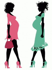 222x300 Chick Pregnant Women With Umbrellas Set Royalty Free Cliparts