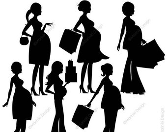 Pregnant Woman Silhouette Cut Out
