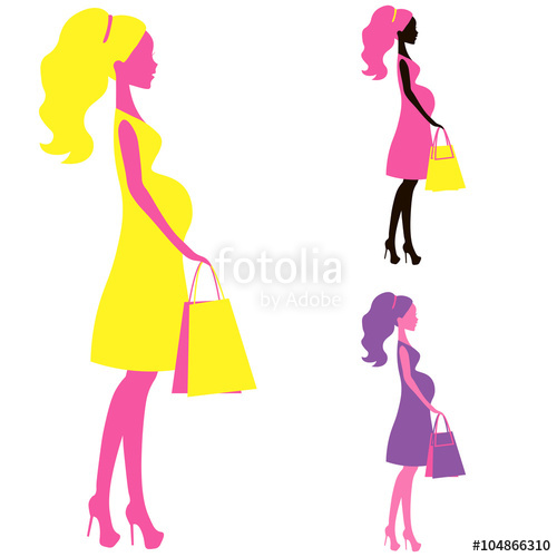 500x500 Vector Icon Of Beautiful Pregnant Women Shopping Belly Lady