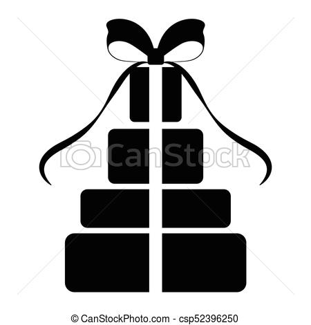 450x470 Isolated Present Silhouette. Silhouette Of A Present Clipart