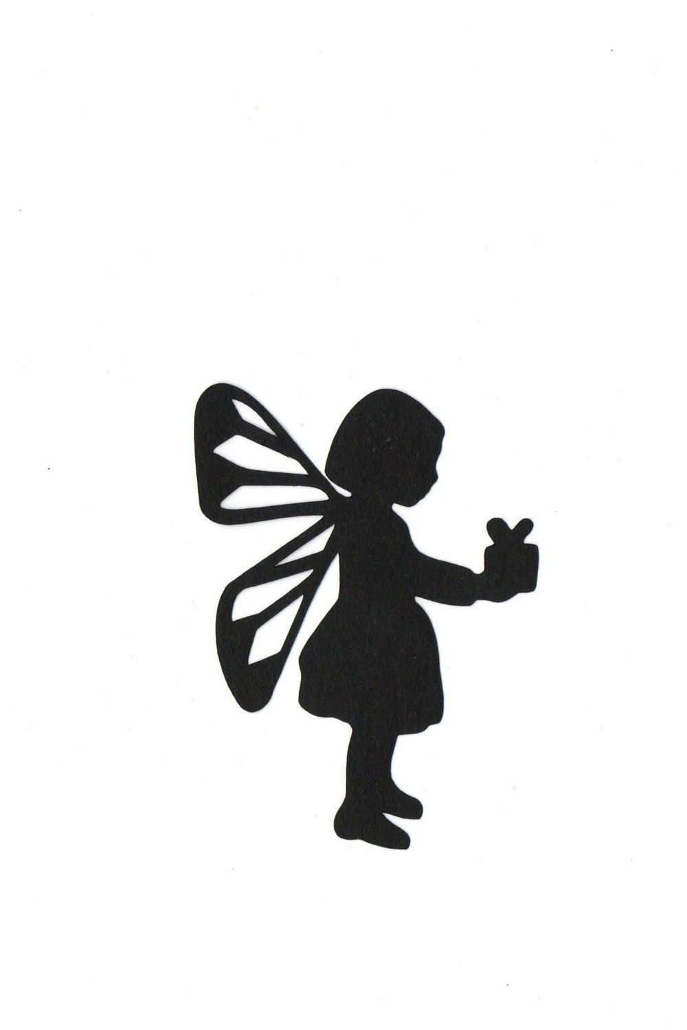 1000x1500 Child Fairy Holding Present Silhouette Die Cut For Scrap Booking