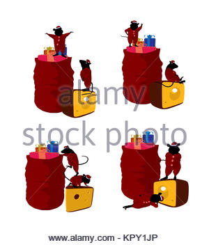 300x352 Little Cute Mouses With Christmas Presents Silhouette On A White